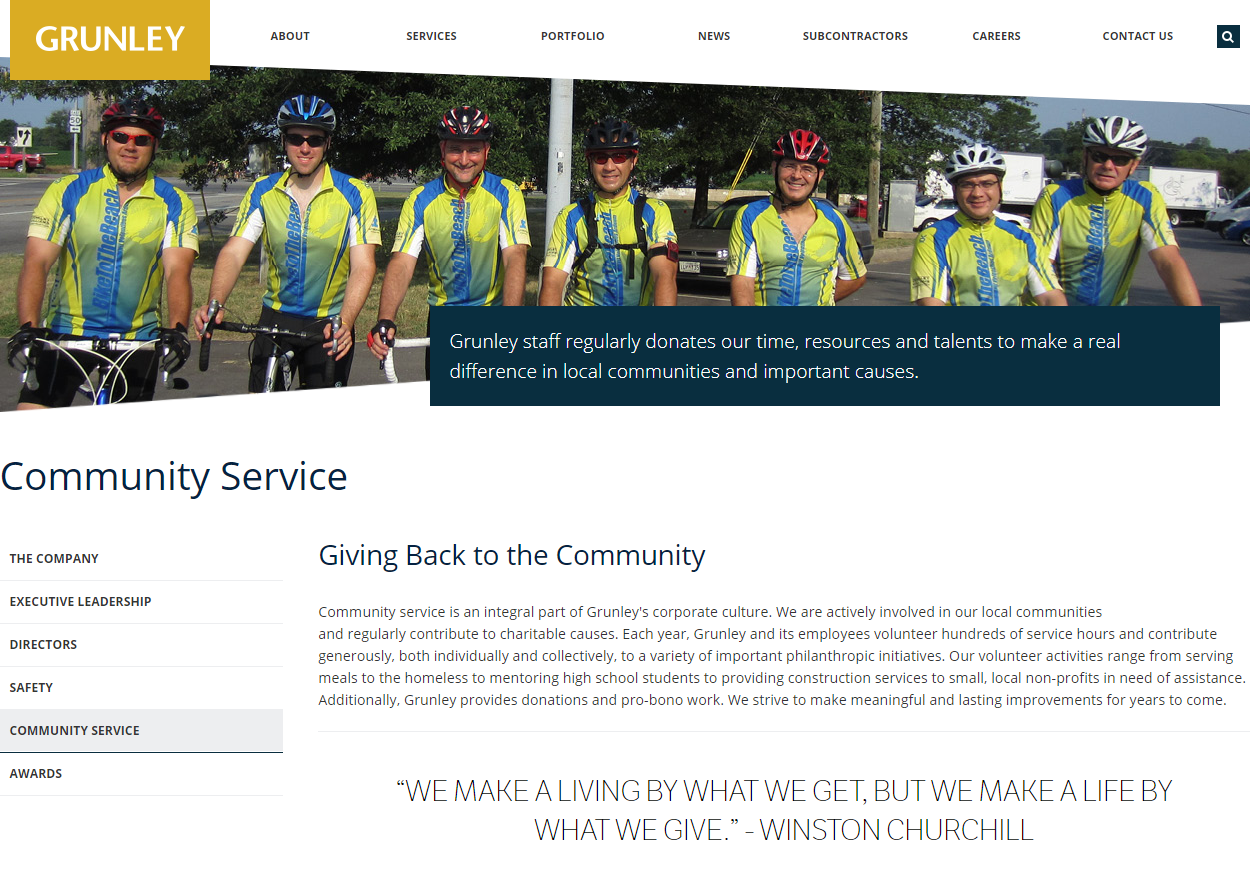 community service for construction companies